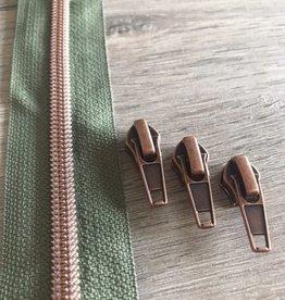 1m metallic rits aan de meter 6mm : kaki met roségoud (incl. 3 schuivers)