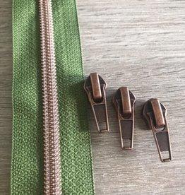 1m metallic rits aan de meter 6mm : olijf groen met roségoud (incl. 3 schuivers)