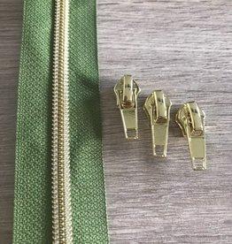 1m metallic rits aan de meter 6mm : olijf groen met goud (incl. 3 schuivers)