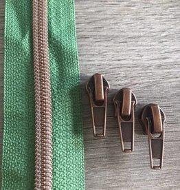 1m metallic rits aan de meter 6mm : bladgroen met roségoud (incl. 3 schuivers)