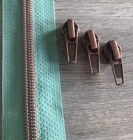 1m metallic rits aan de meter 6mm : Celadon mint met roségoud (incl. 3 schuivers)