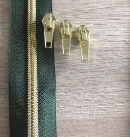 1m metallic rits aan de meter 6mm : Brits groen met goud (incl. 3 schuivers)