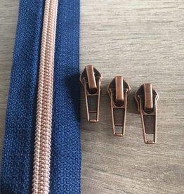 1m metallic rits aan de meter 6mm : azuursteen blauw met roségoud (incl. 3 schuivers)