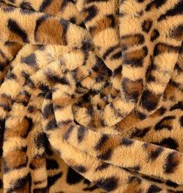 Pels fake-fur leopardprint beige/bruin