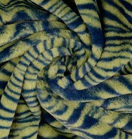 Pels fake-fur zebraprint groen/blauw