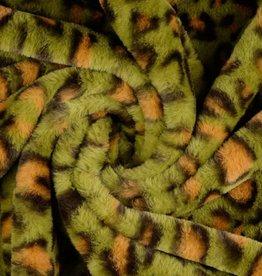 Pels fake-fur olijf leopardprint