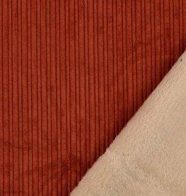 Corduroy ribfluweel roest met beige pels