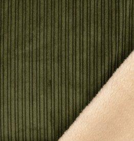 Corduroy ribfluweel kaki met beige pels