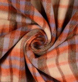 Mantelstof Burda geruit oranje wit lila bruin