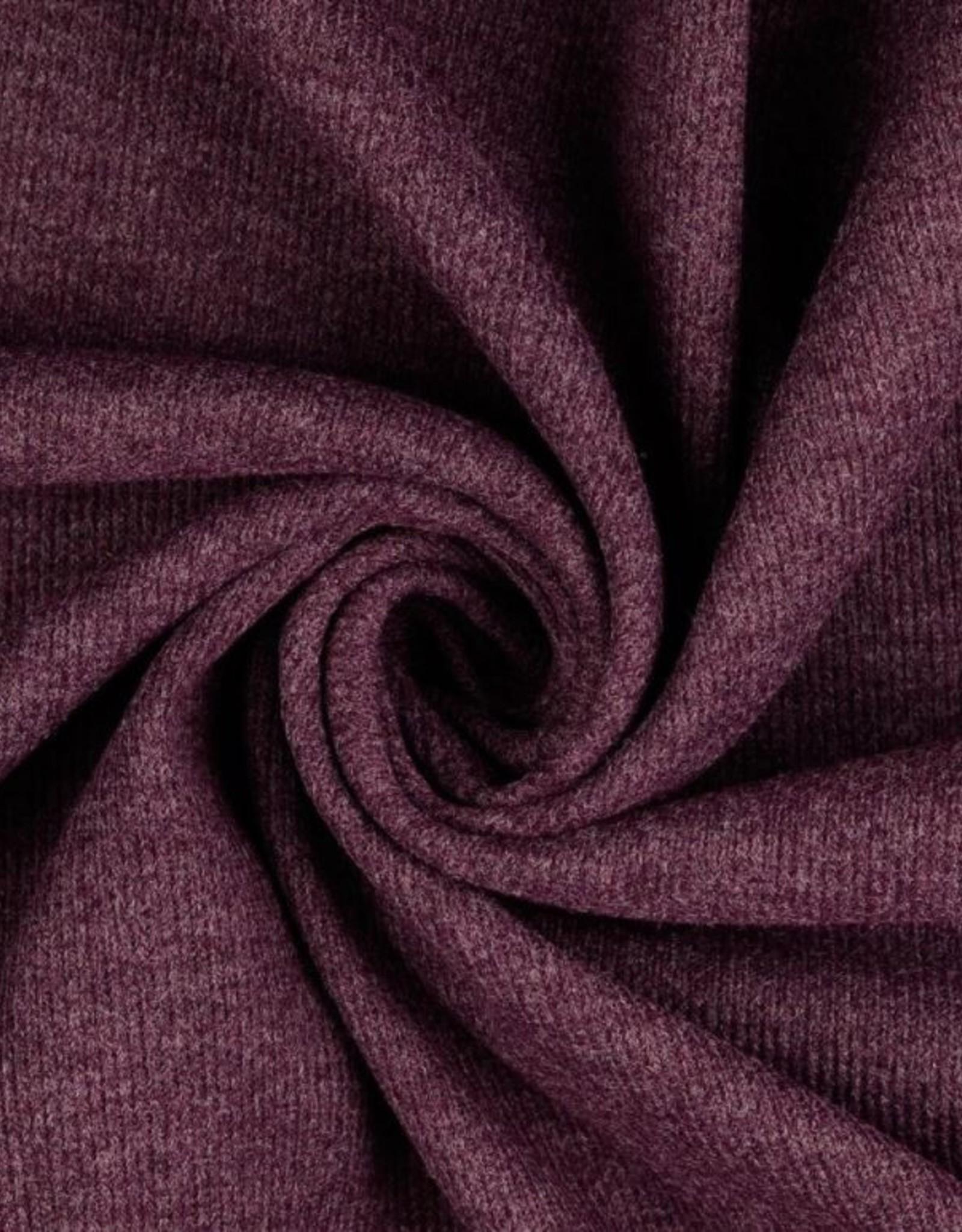 Gebreide stof donker rood bordeaux gemengd