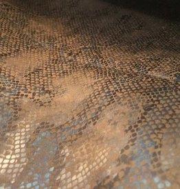 Toptex Lederimitatie suede slangenprint glans