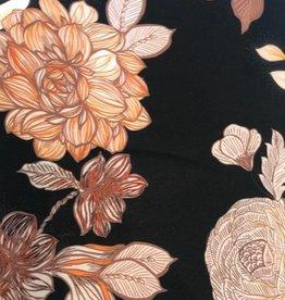 Viscosetricot zwart met grote bloemen in roest
