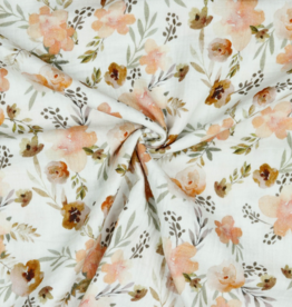 Poppy Double gauze GOTS aquarel bloemen zalmkleur