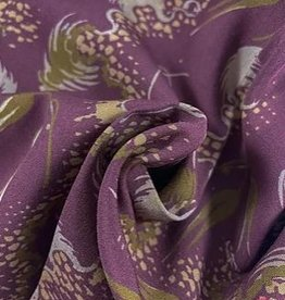 La Maison Victor Viscose framboosrood met oker print - LMV Livia blouse