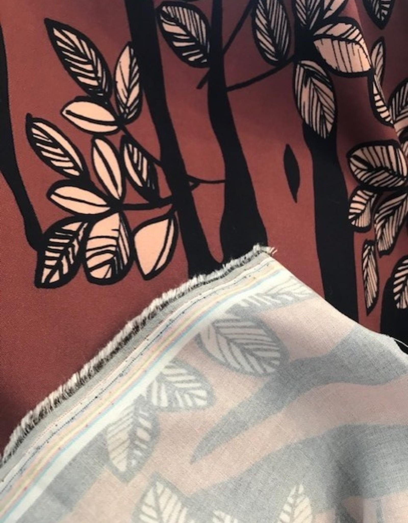 Viscose tiger leaf dark oldpink - Knip!