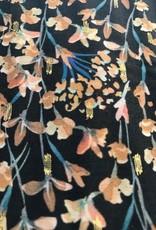Viscose lurex Plumetti marine flowers zalmroze - Knip!