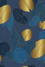 Viscosejersey navy met golden leaves