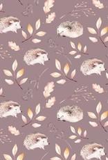 Jersey digital print hedgehog taupe