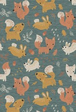 French terry brushed digital forest animals green