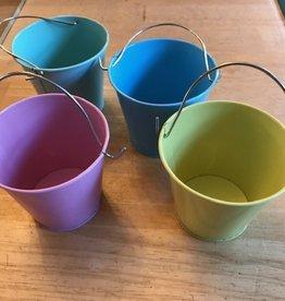 Tinnen emmertje pastel met handvat diameter 8cm - variatie kleuren