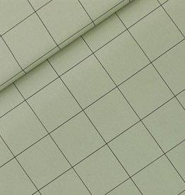 See You At Six Thin Grid- XL  - Cotton Canvas Gabardine Twill - Tea Green- R