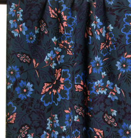 Blue and soft pink flowers viscose