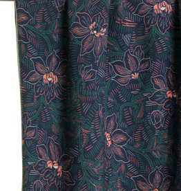 Green leafs and soft pink flowers viscose