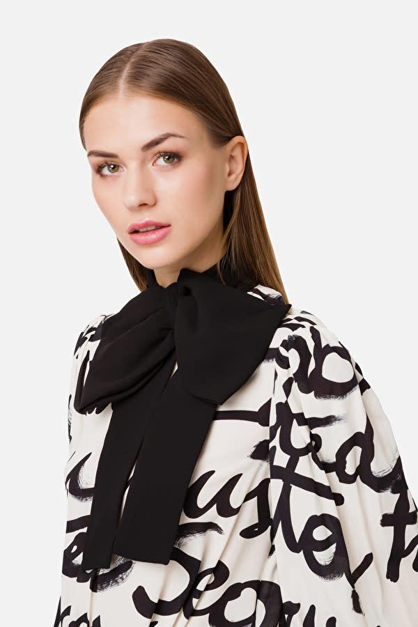 Elisabetta Franchi Bodysuit-style blouse with maxi print burro Elisabetta Franchi