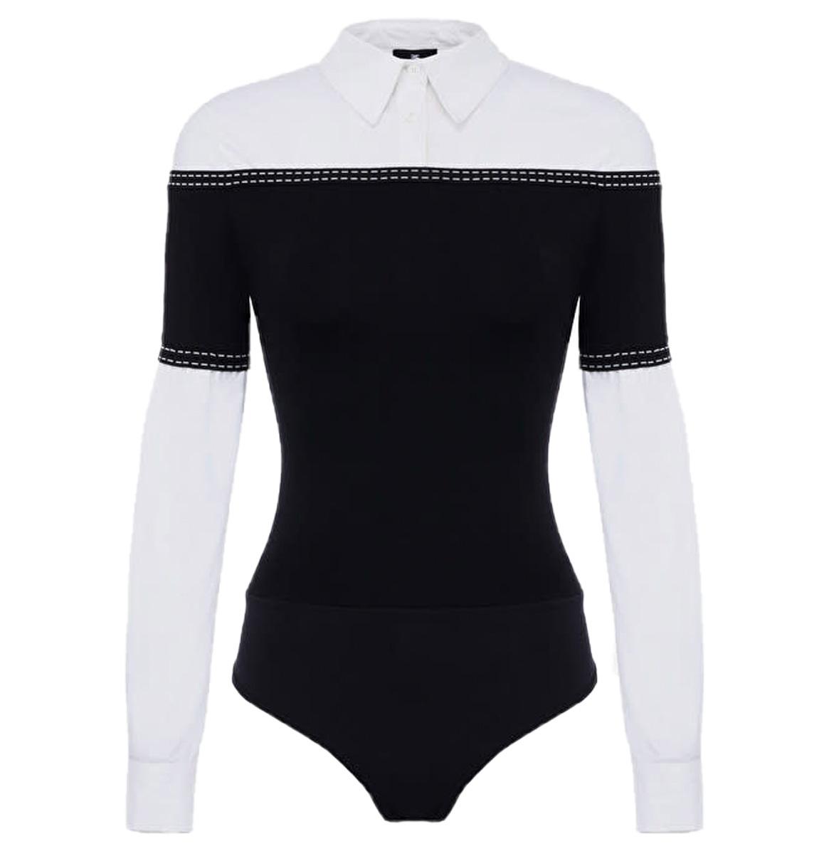 Elisabetta Franchi Bodysuit blouse with poplin insert nero Elisabetta Franchi
