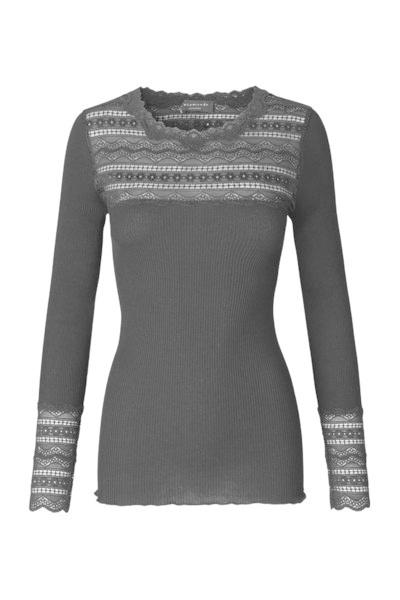 Rosemunde S/S Silk T-shirt regular wide lace black Rosemunde