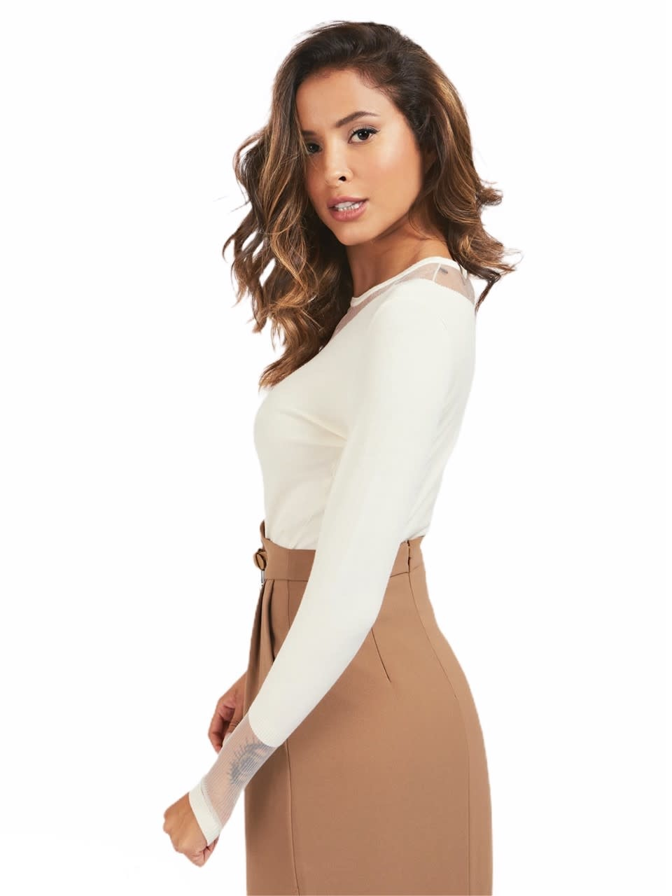 Guess by Marciano A/W Sweater Netstof Creme Guess by Marciano