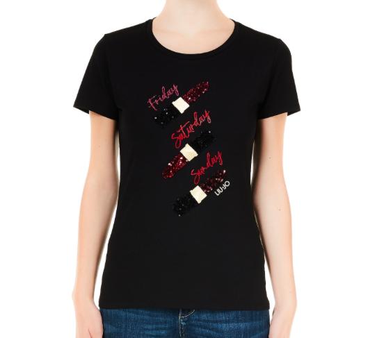 Liu.Jo S/S T-shirt nero lipstick Liu.Jo