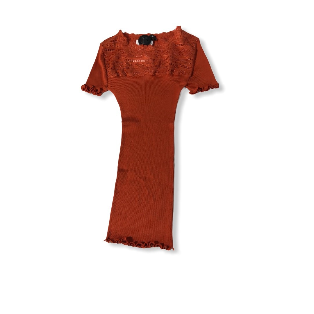Rosemunde S/S Silk t-shirt regular wide lace burnt ochre Rosemunde