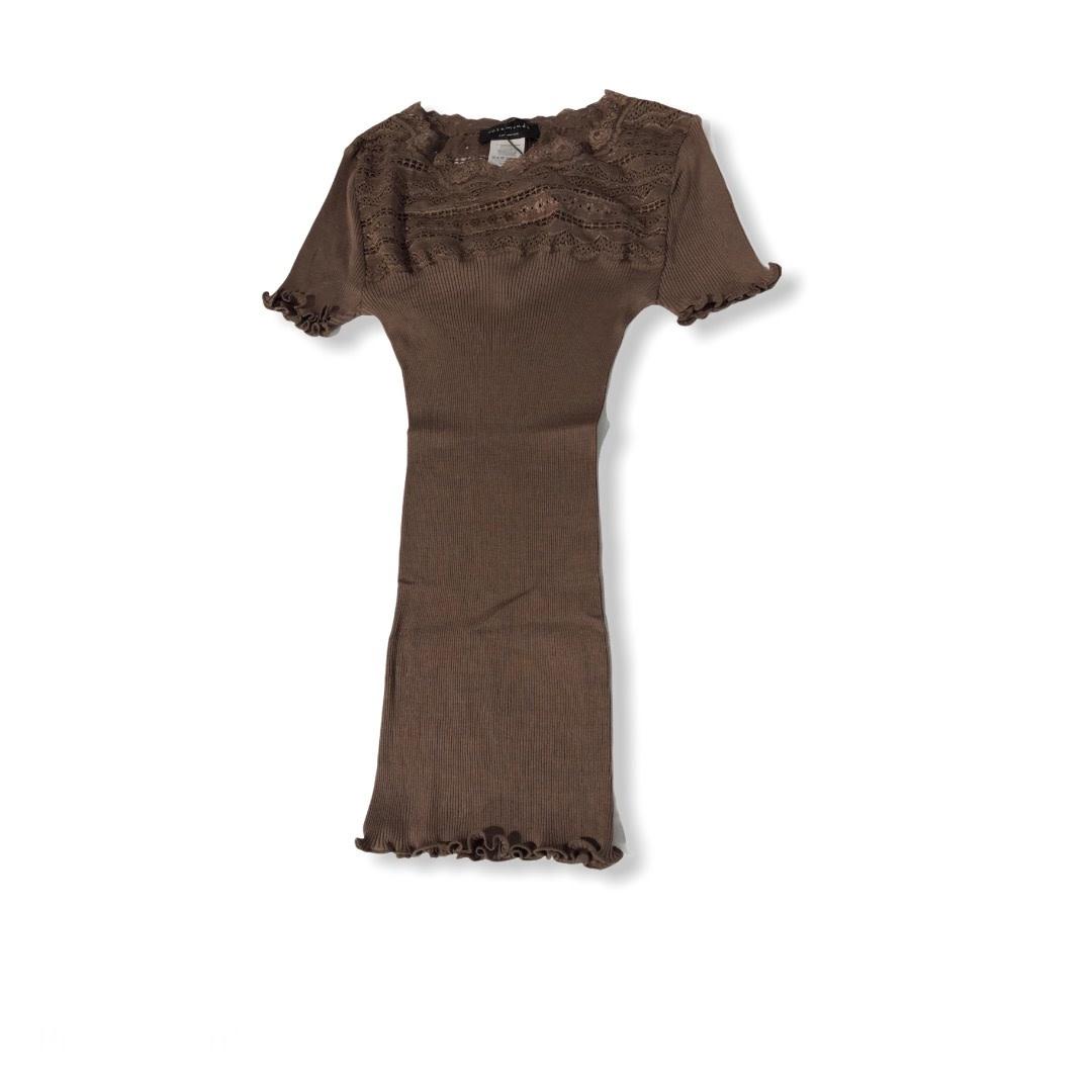 Rosemunde S/S Silk T-shirt regular wide lace dark sand Rosemunde