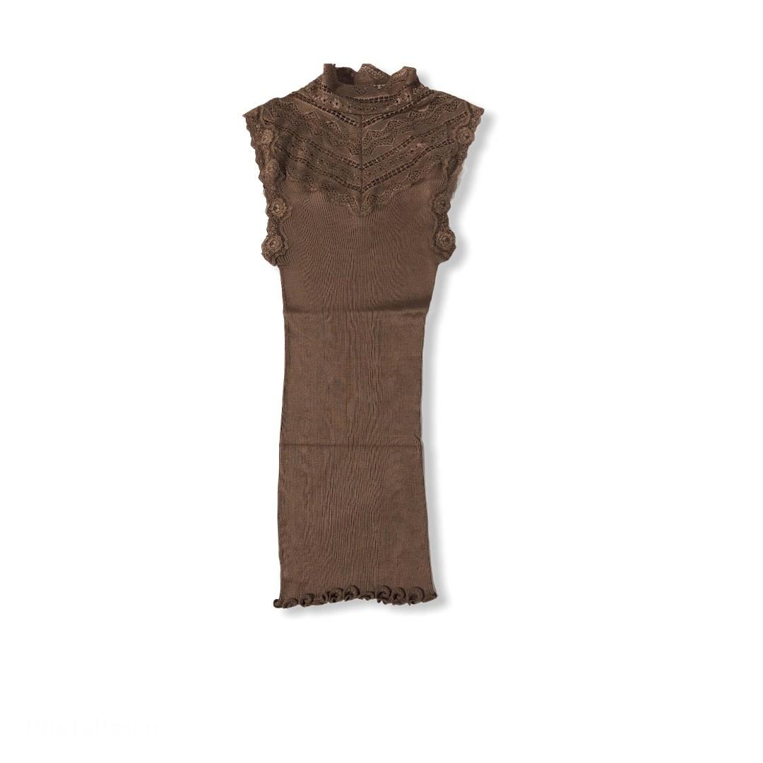 Rosemunde S/S Silk top Regular W/Wide lace dark Sand Rosemunde