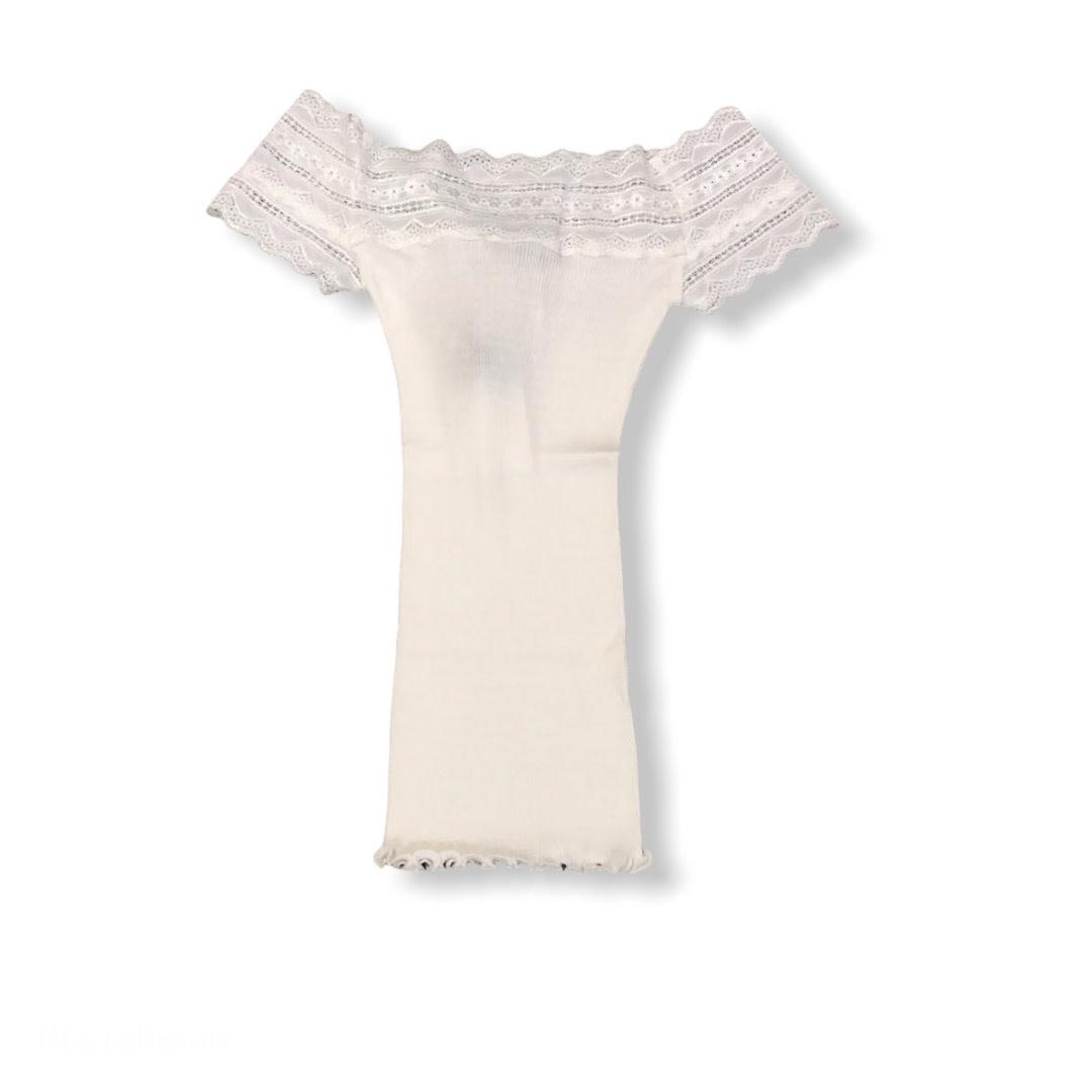 Rosemunde A/W Silk t-shirt regular wide lace white Rosemunde