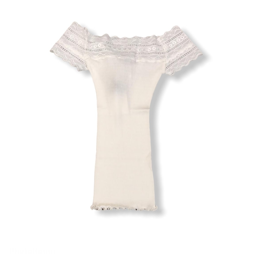 Rosemunde S/S Silk t-shirt regular wide lace white Rosemunde
