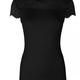 Rosemunde A/W Silk t-shirt regular wide lace black Rosemunde