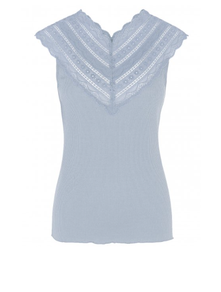 Rosemunde S/S Silk top regular w/ wide lace heather sky Rosemunde