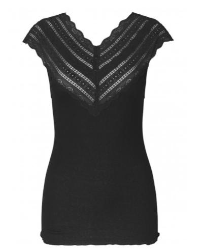 Rosemunde S/S Silk top regular w/ wide lace