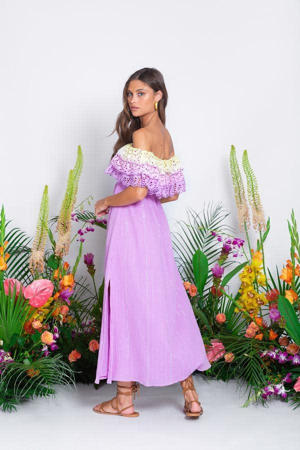 Sundress S/S Josepha long dress Eyelet ombre/lavender Sundress