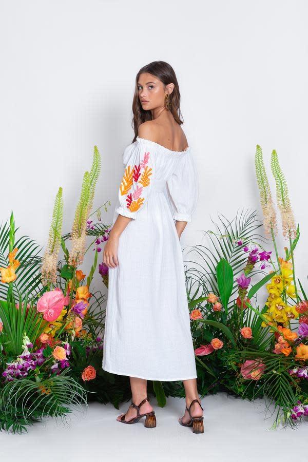 Sundress S/S Poly dress long tulum white Sundress
