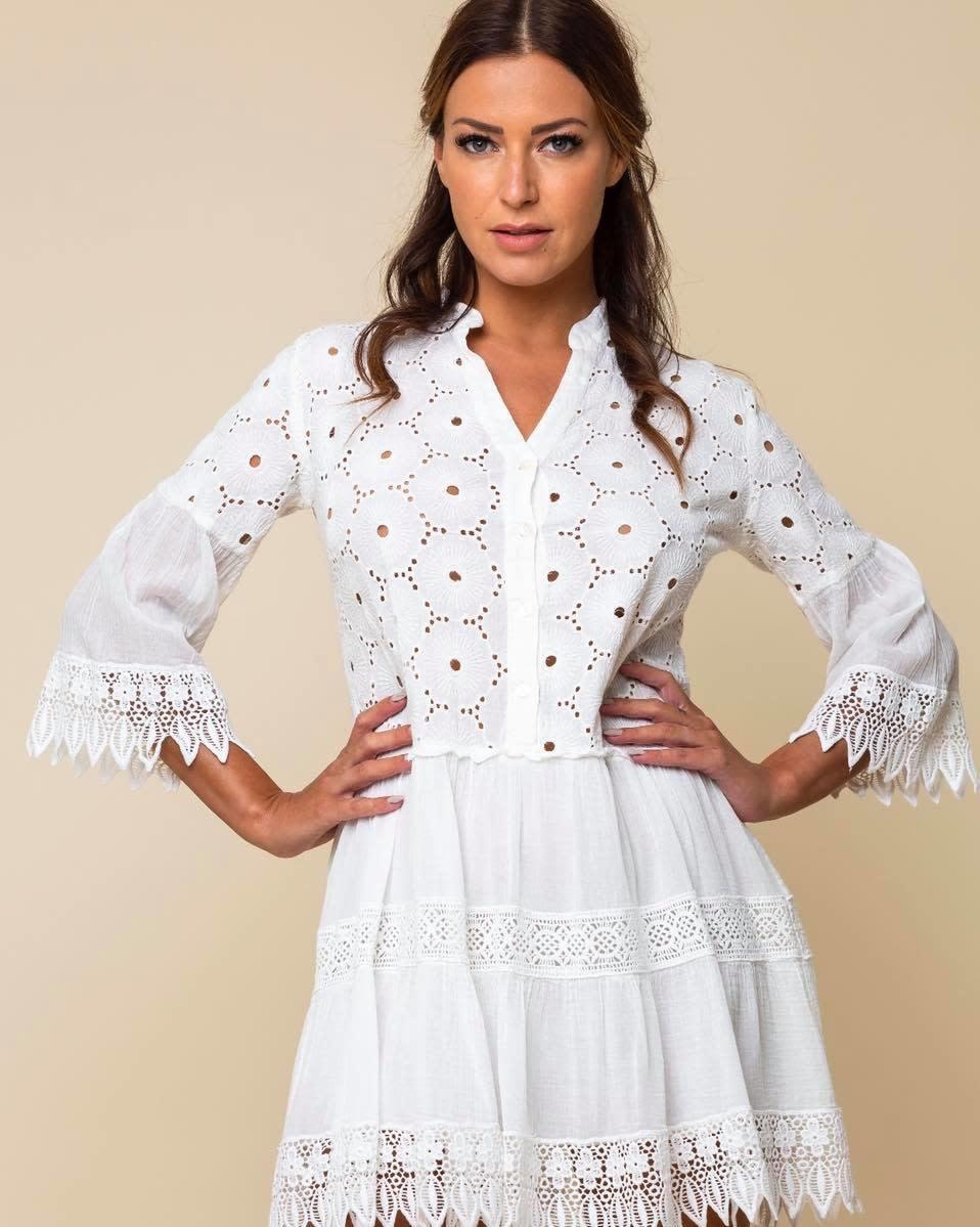 Vintage Ibiza S/S Short Dress White Vintage Ibiza