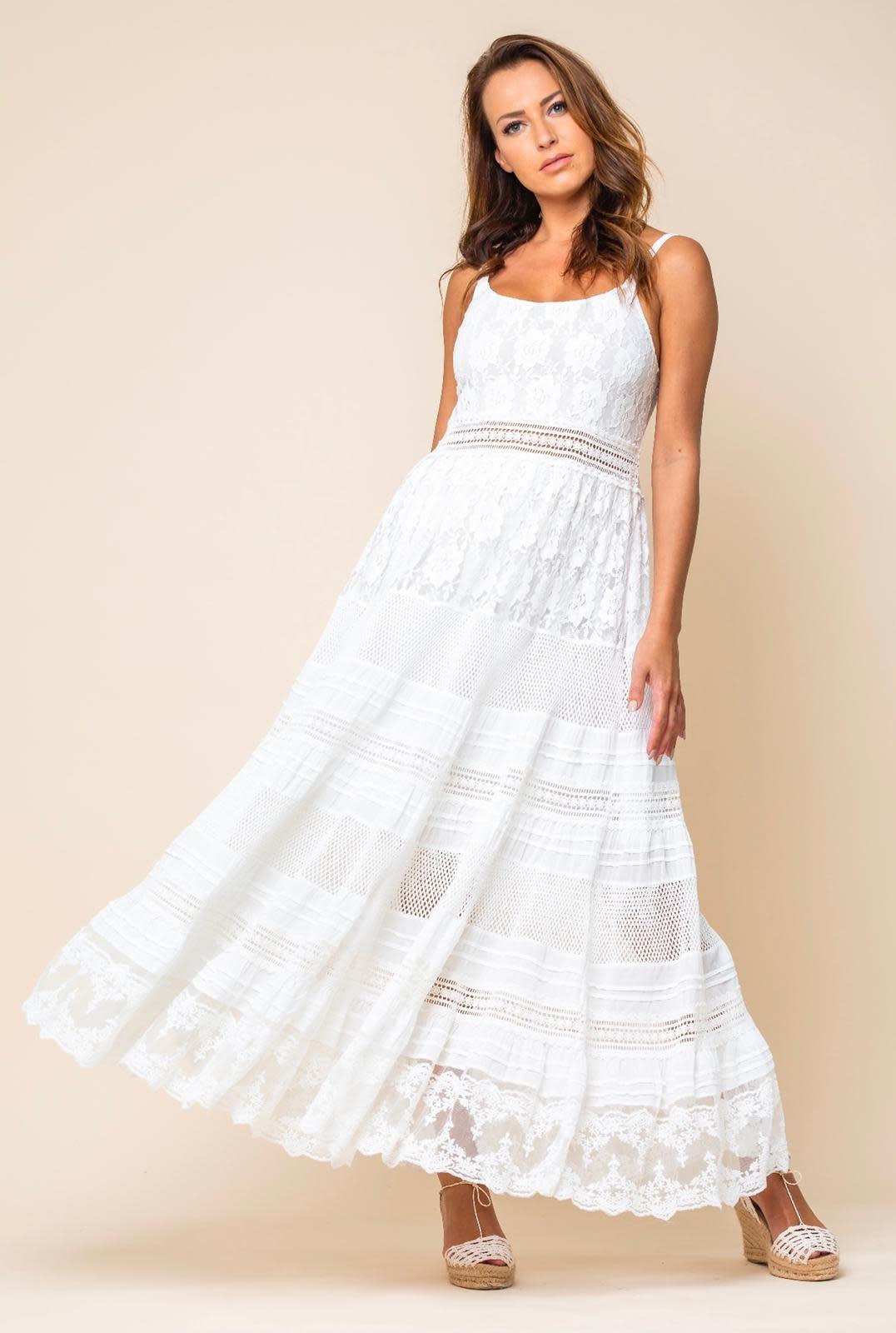 Vintage Ibiza S/S Long Dress Lace White Vintage Ibiza