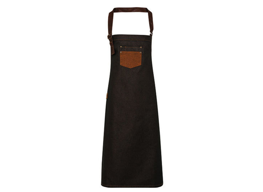 Schort Waxed Look Denim Bib Apron / Faux Leather