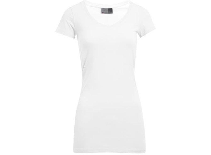 Dames Slim Fit V-Neck-T-shirt extra lang - 6 kleuren