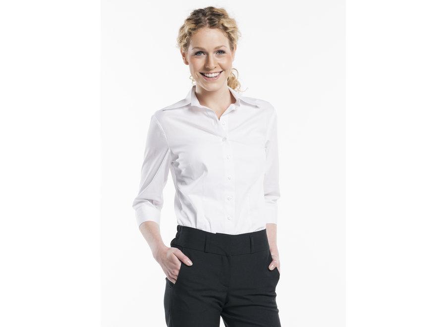 Dames blouse 3/4 mouw  zwart of wit