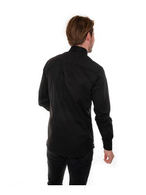 Company Fits Overhemd heren denver zwart stretch