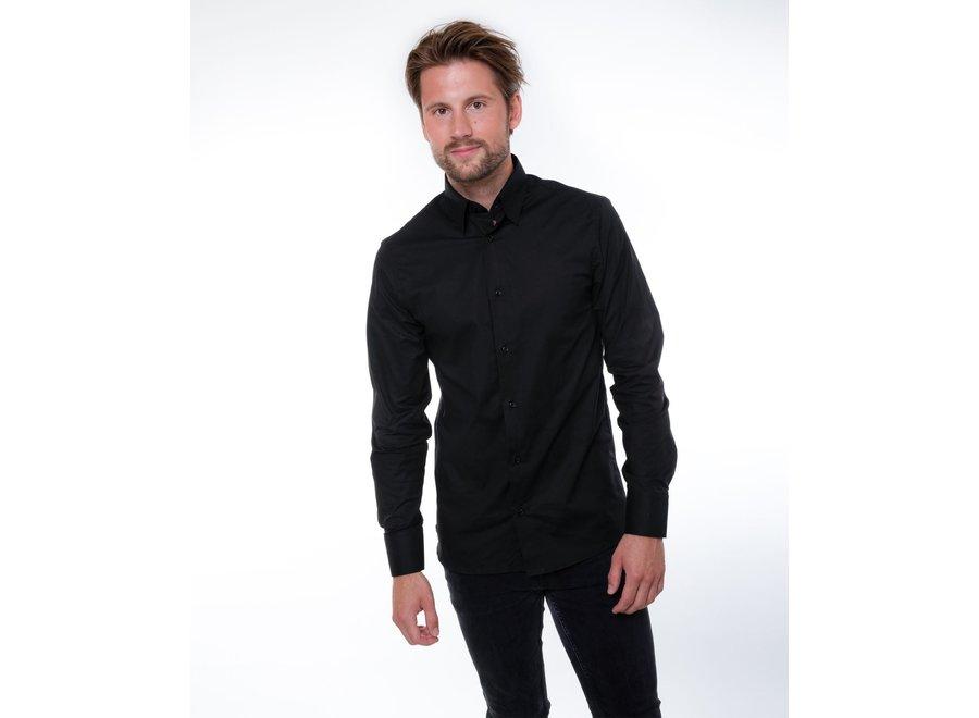 Overhemd heren denver zwart stretch