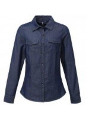 Premier Dames jeans stitch denim shirt blauw of zwart